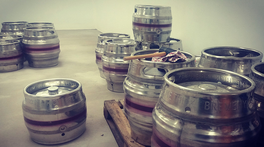 Various casks in the brewery.